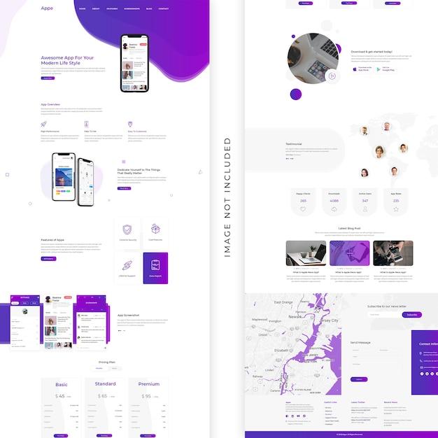 Design della pagina di destinazione dell'app Psd Premium
