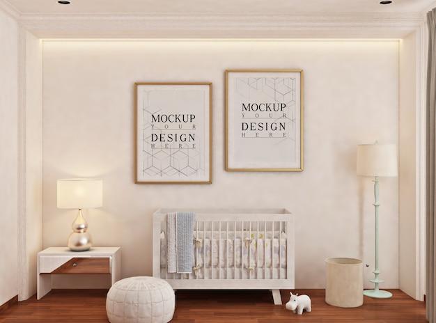Cameretta del bambino con cornice per poster mockup Psd Premium
