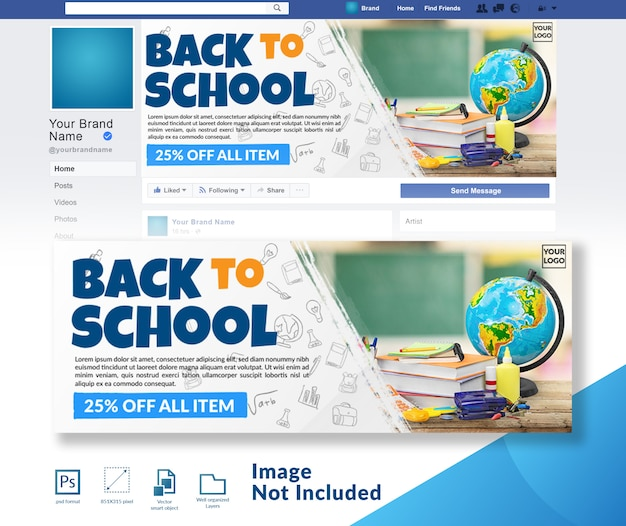 Torna a scuola sconto offerta modello di copertina dei social media Psd Premium