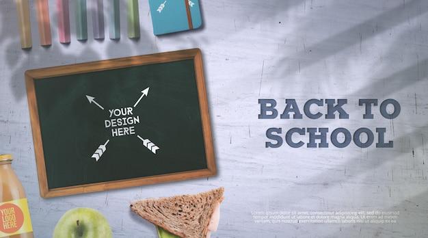 Back to school mockup chalkboard and lunch break Psd Premium