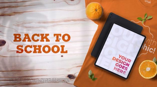Ritorno a scuola mockup con dispositivi Psd Premium