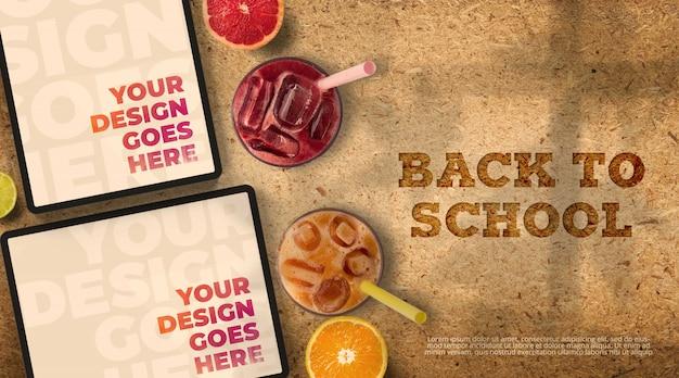 Ritorno a scuola mockup con compresse e succhi di frutta Psd Premium
