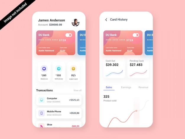 Modello di progettazione dell'interfaccia utente della app bank & debit card Psd Premium