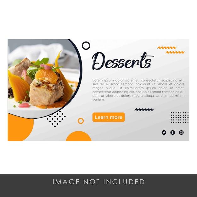 Moderno pulito del modello giallo dei dessert dell'insegna Psd Premium