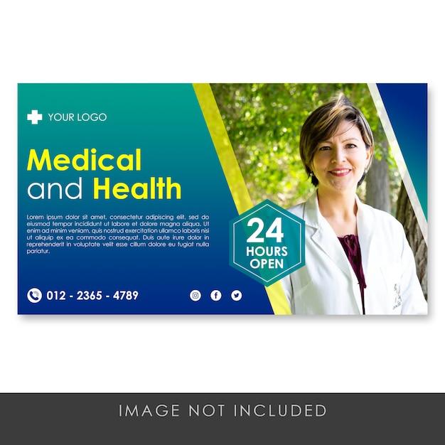 Banner gradiente blu medico e sano Psd Premium