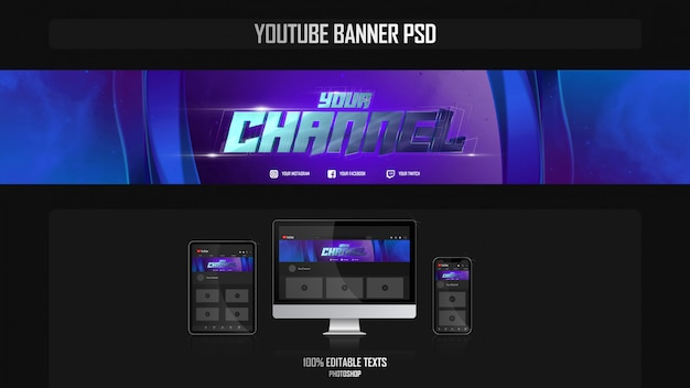 Banner per canale youtube con concept estetico Psd Premium