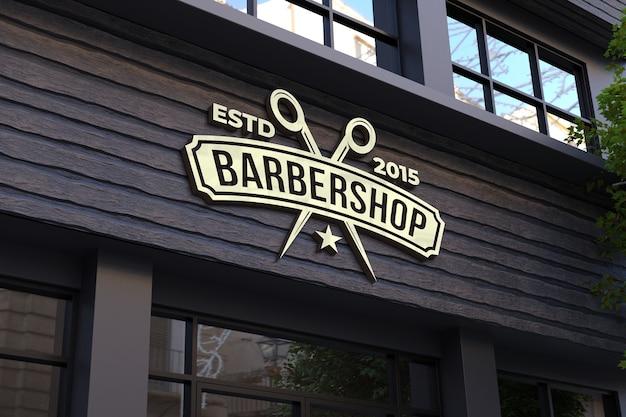 Mockup di segno 3d di facciata del negozio di barbiere Psd Premium