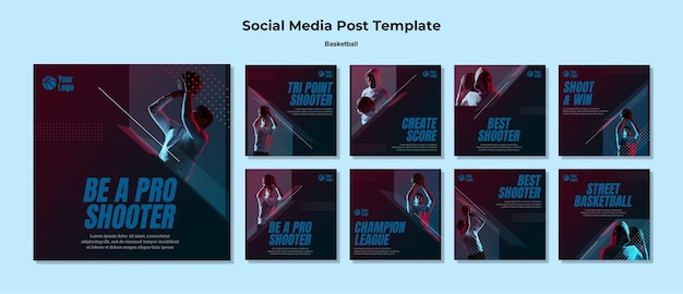 Post sui social media di basket Psd Premium