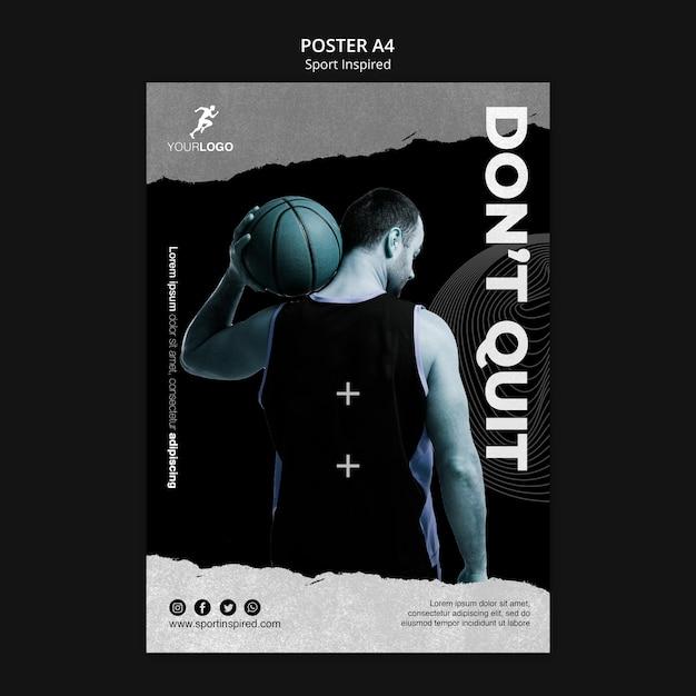 Poster modello di annuncio di allenamento di basket Psd Premium