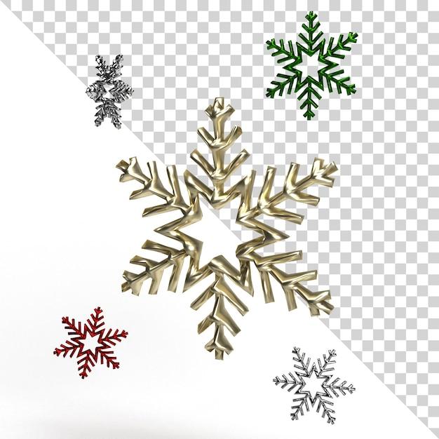 Rendering realistico bellissimo fiocco di neve isolato Psd Premium