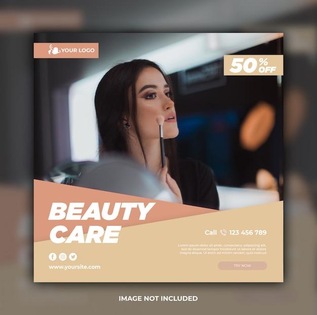 Modello di banner di social media cura di bellezza Psd Premium