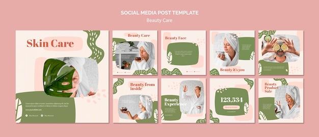 Modello di post sui social media per la cura della bellezza Psd Premium