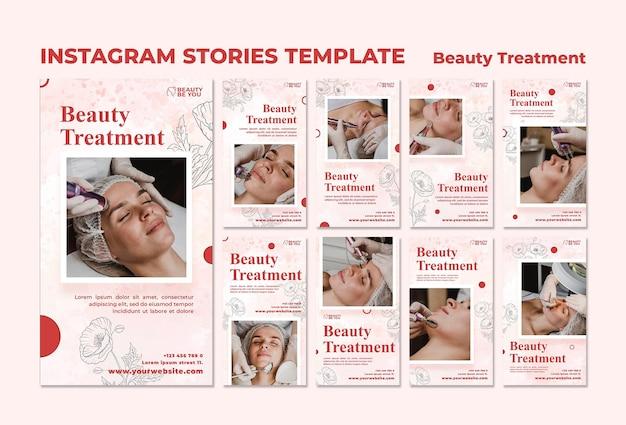 Storie di instagram di trattamenti di bellezza Psd Premium