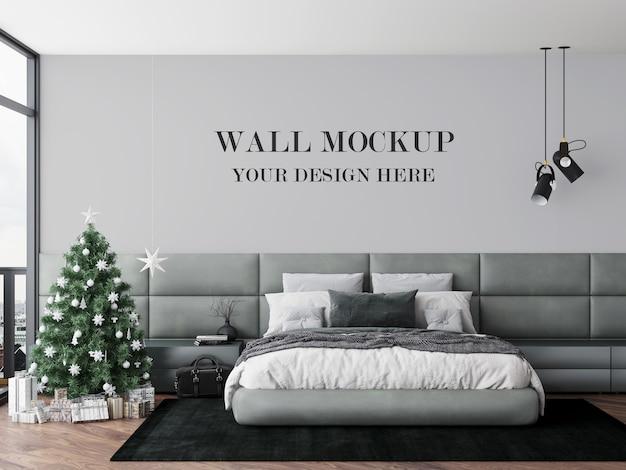 Mockup parete camera da letto vigilia di natale Psd Premium