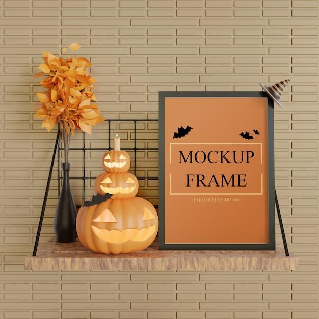 Mockup cornice nera edizione halloween in piedi sul tavolo a muro Psd Premium