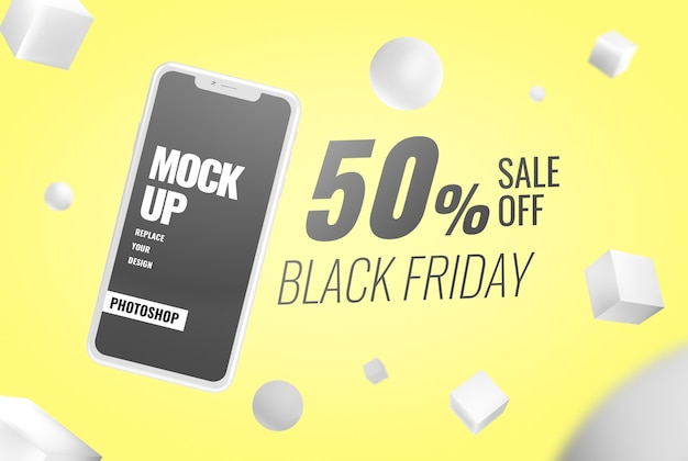 Mockup di banner pubblicitari del black friday Psd Premium