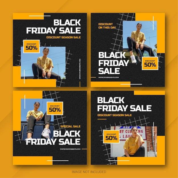 Il modello di bundle post instagram della campagna del black friday Psd Premium