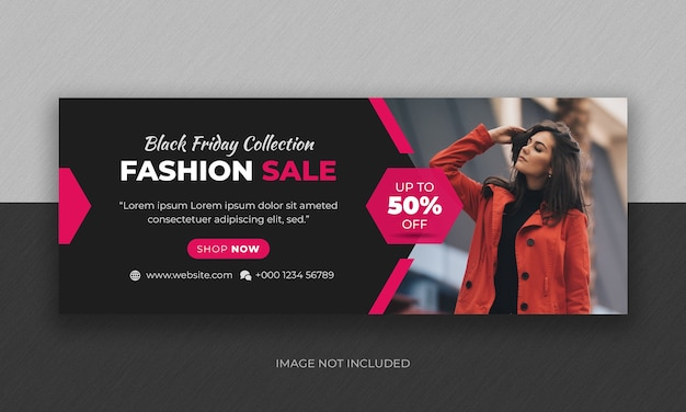 Black friday fashion sale social media banner e facebook cover photo design template Psd Premium
