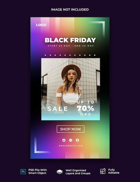 Modello di storia di instagram venerdì nero Psd Premium