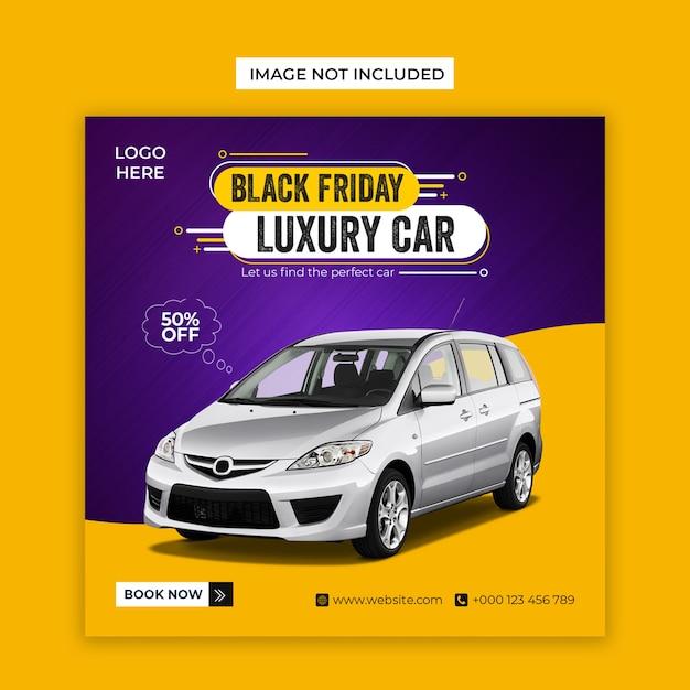 Social media per auto di lusso black friday e modello di post instagram Psd Premium