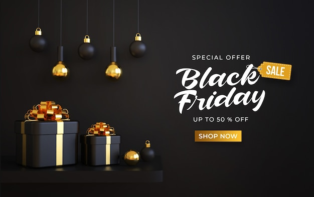 Modello di banner di vendita venerdì nero con scatole regalo 3d e lampade a sospensione Psd Premium