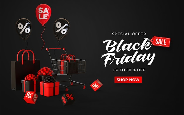 Banner di vendita venerdì nero con carrello 3d, borse negozio, scatole regalo, cubi con percentuale e palloncini Psd Premium