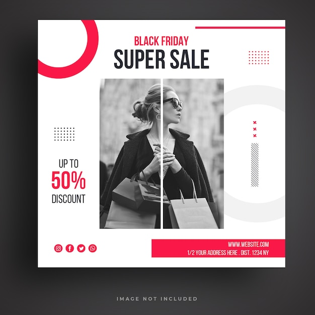 Modello di banner di social media di vendita del black friday Psd Premium