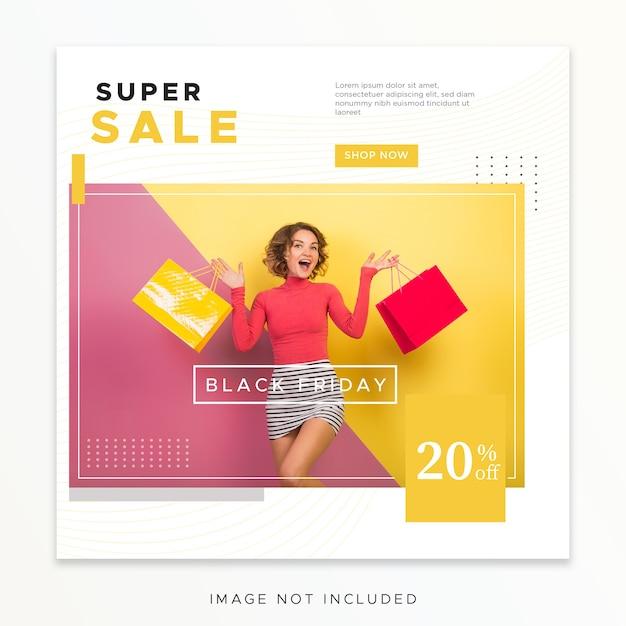Modello di post sui social media del black friday Psd Premium