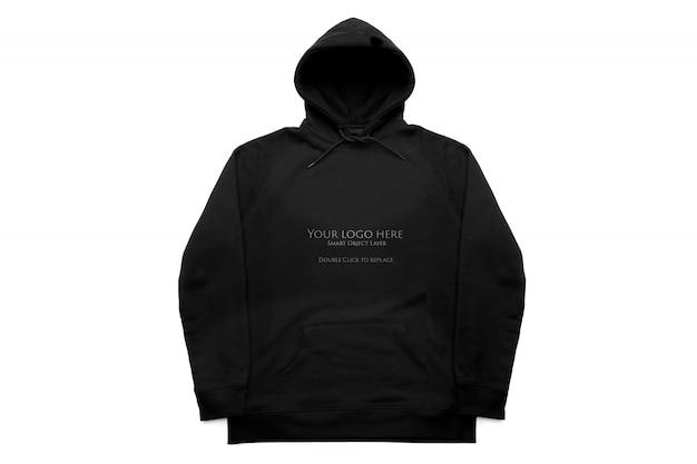 Felpa con cappuccio nera isolare mockup, vista frontale Psd Premium