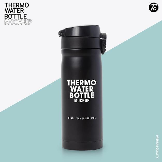 Mockup di bottiglia d'acqua termica in acciaio nero Psd Premium