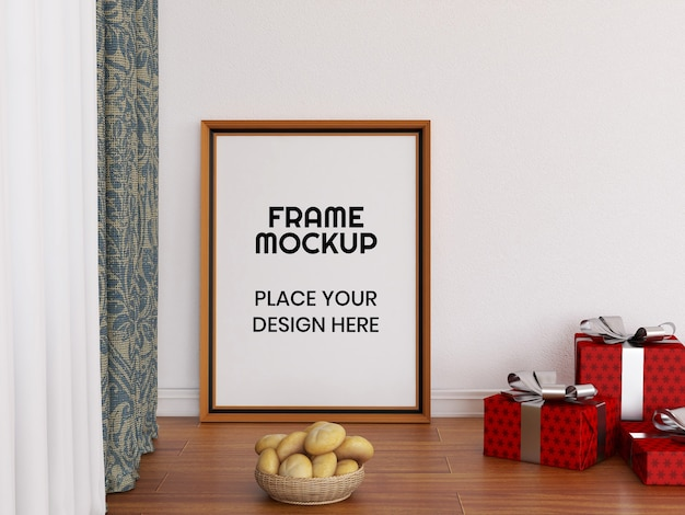 Mockup di cornice per foto in bianco sul pavimento Psd Premium