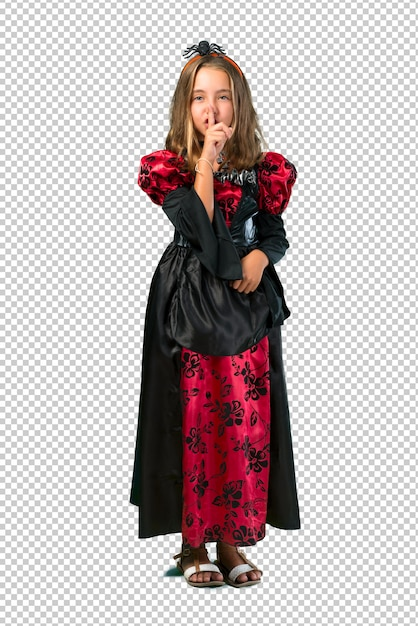 Bambino biondo vestito da vampiro per le feste di halloween che mostrano un segno di chiusura della bocca Psd Premium