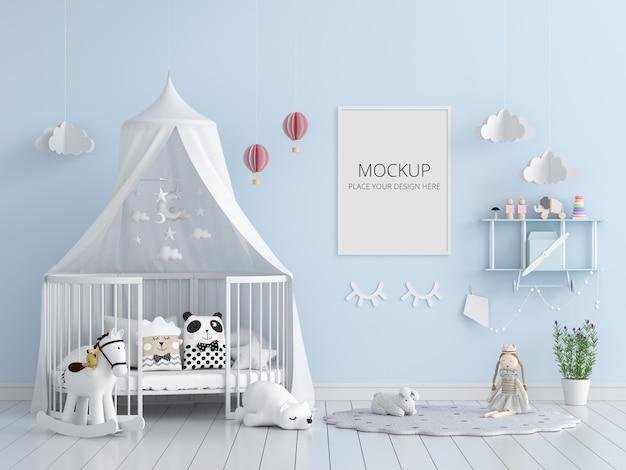Camera da letto bambino blu con mockup di cornice Psd Premium