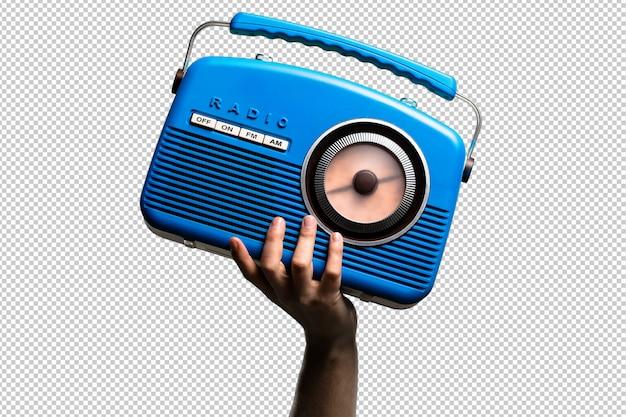 Radio vintage blu isolata Psd Premium