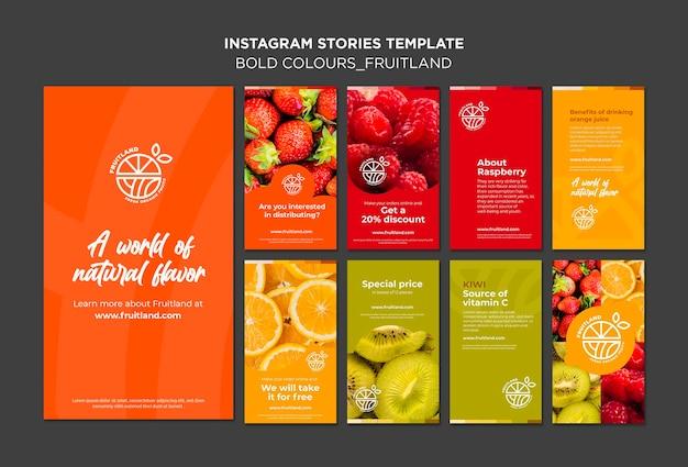 Storie di instagram di frutta dai colori audaci Psd Premium