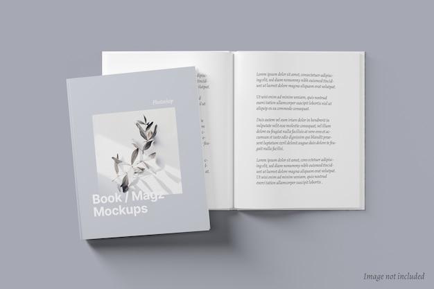 Libro e copertina di una rivista e diffusione mockup Psd Premium