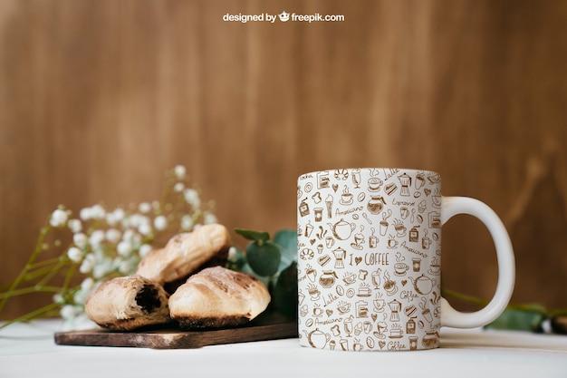 Mockup colazione con tazza Psd Premium