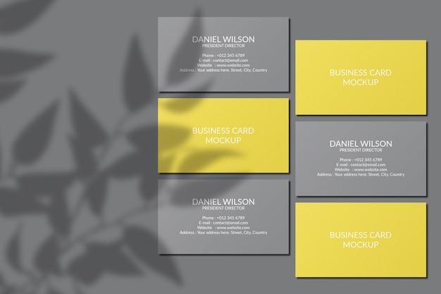 Mockup di biglietti da visita con sovrapposizione di ombre Psd Premium