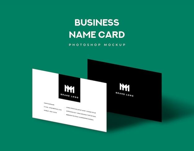 La carta di nome di affari fronteggia e parte posteriore con l'ombra si accende su fondo verde Psd Premium