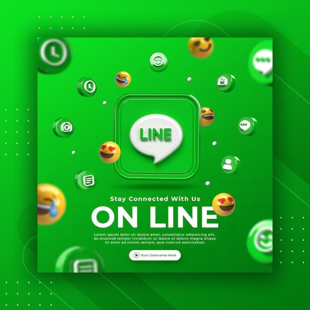 Promozione della pagina aziendale con linea di rendering 3d per modello di post instagram Psd Premium