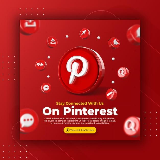 La promozione della pagina aziendale con 3d rende pinterest per il modello di post di instagram Psd Premium