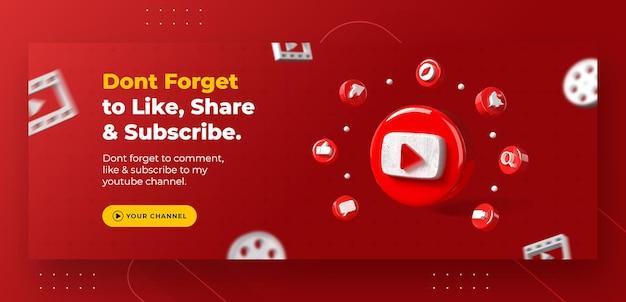 La promozione della pagina aziendale con 3d rende il logo di youtube per il modello di post instagram Psd Premium