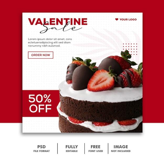 Rosso dell'alimento del modello dell'alberino di instagram della torta Psd Premium