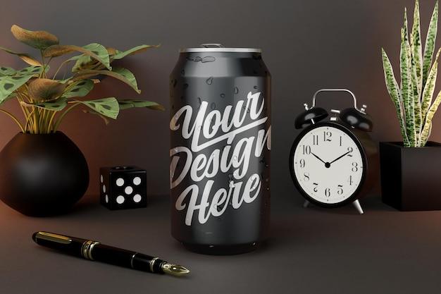Mockup di bevande in scatola su sfondo scuro Psd Premium