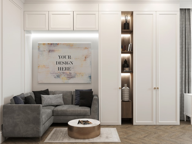 Mockup in tela all'interno con guardaroba e divano ad angolo Psd Premium