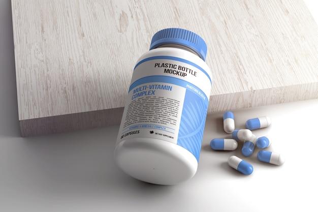 Mockup bottiglia pillola capsula Psd Premium