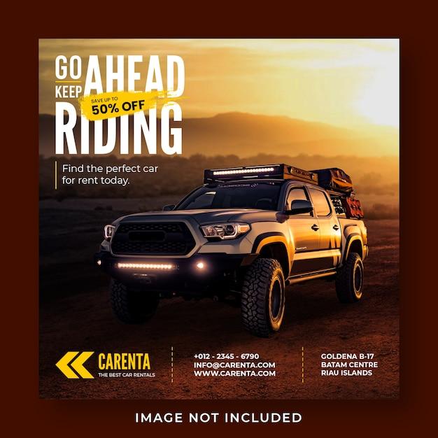 Modello di banner post instagram social media di promozione noleggio auto Psd Premium