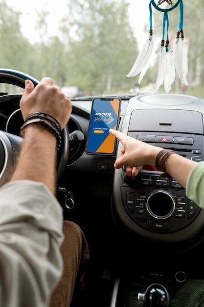 Mock-up di concetto di viaggio in auto Psd Premium