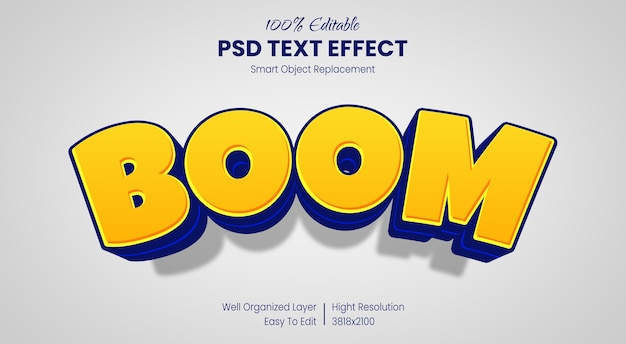 Modello di effetto di stile del testo del fumetto 3d Psd Premium