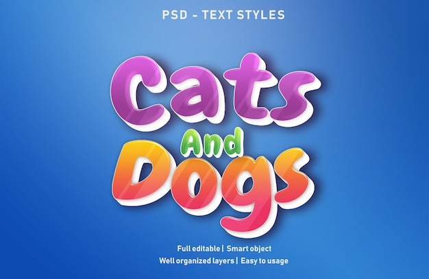Psd modificabile in stile effetti di testo per cani e gatti Psd Premium